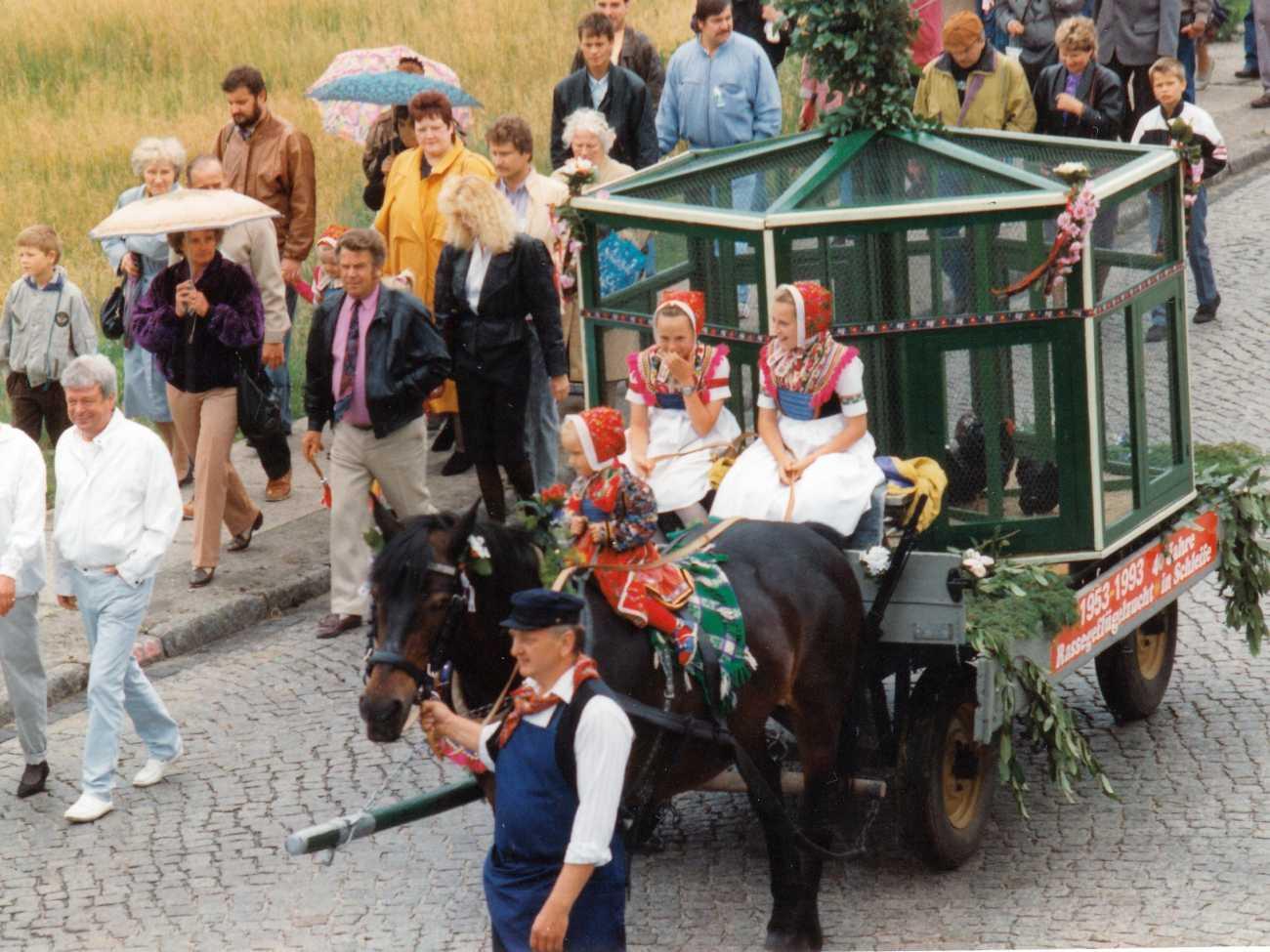 Umzugswagen des Rassegeflügelvereins Schleife zum Heimatfest Schleife 1993