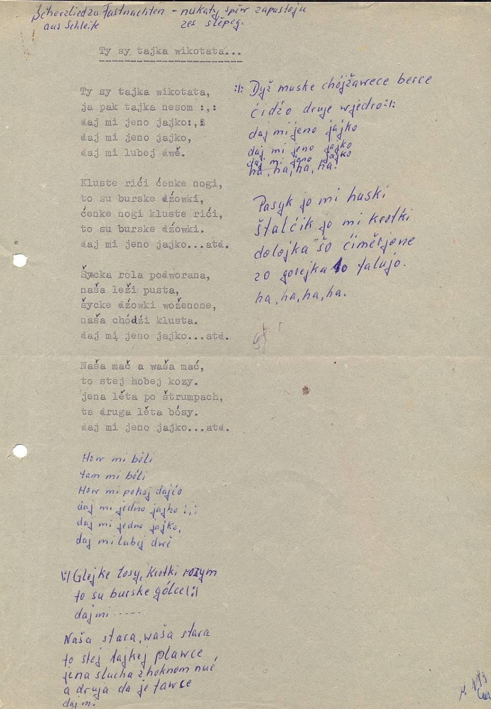 Auszug aus der Liedersammlung Dieter Reddo
